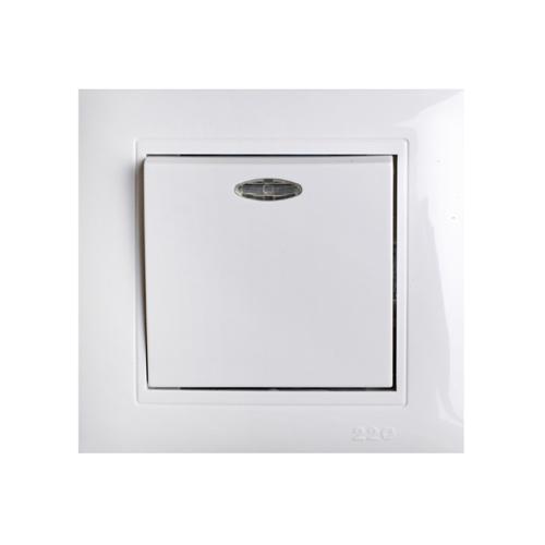 Выключатель одноклавишный с подсветкой белый 220 ТМ