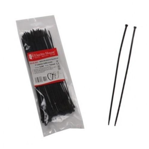 Стяжка кабельная черная 4×300
