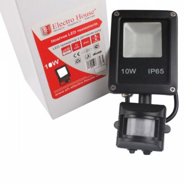 Прожектор LED со встроенным датчиком движения  10W IP65 ElectroHouse